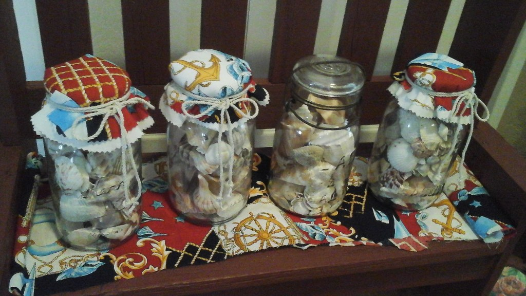 Sea Shells Inside Mason Jars Nautical Beachy Decor