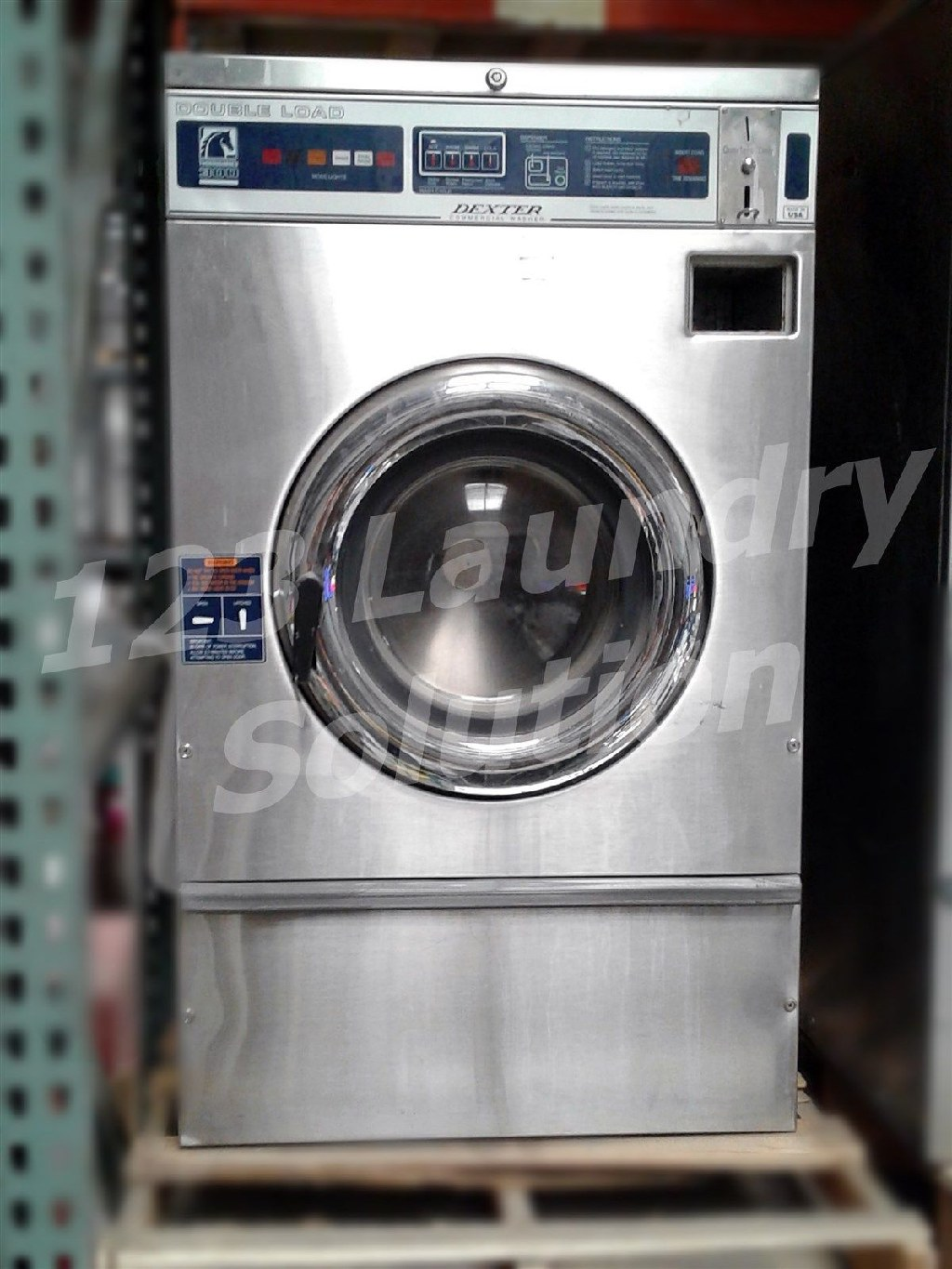 Coin Operated Dexter Front Load Washer Double Load Coin Op T300 3PH WCN18ABSS Stainless Steel