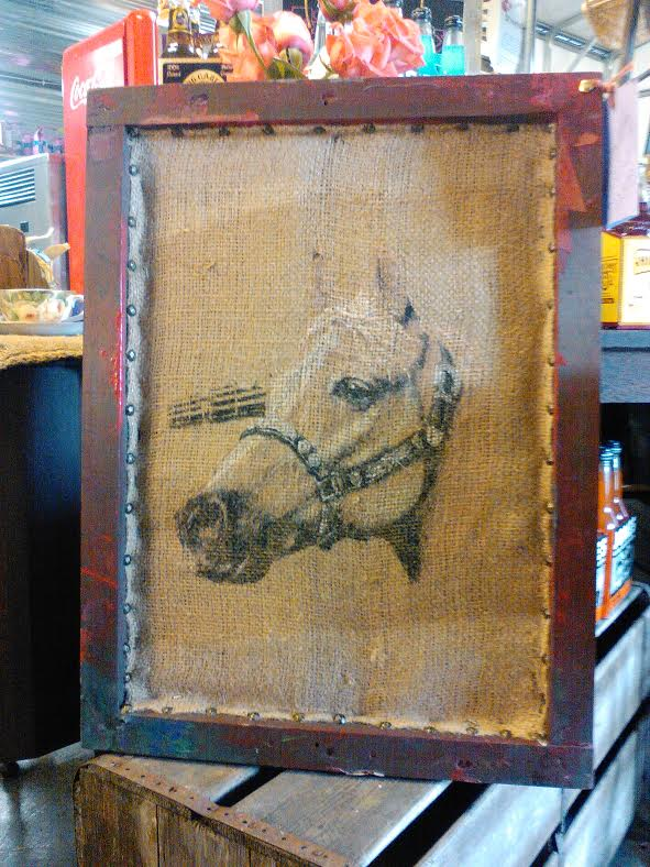Hongkongwillie Art Shabby Chic Burlap Art,on Vintage Silk Screen Frame.
