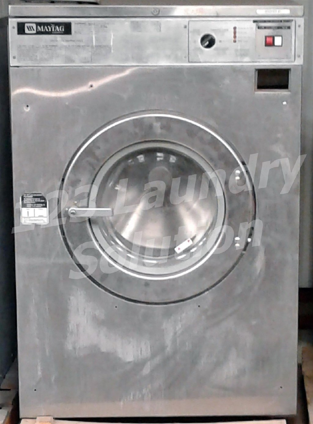 Coin Laundry Maytag Front Load Washer OPL 50LB MFR50 3PH Stainless Steel Used