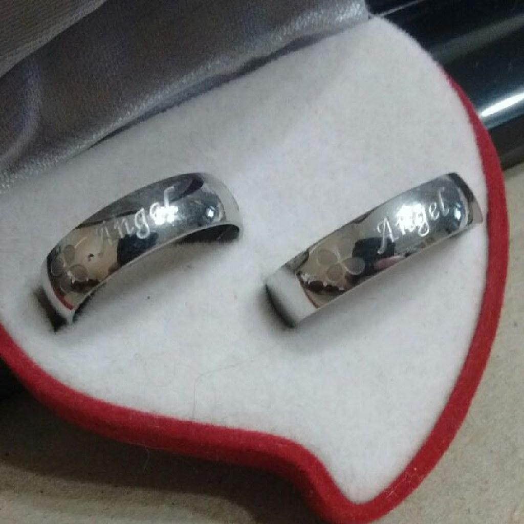 2pc Matching Angel Engraved Band Set Free Shipping