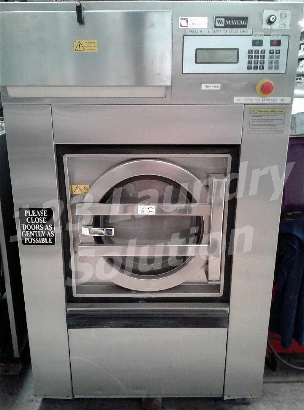 Coin Laundry Maytag Front Load Washer Softmount OPL 50LB MFS50PNFVS 3PH Stainless Steel Used