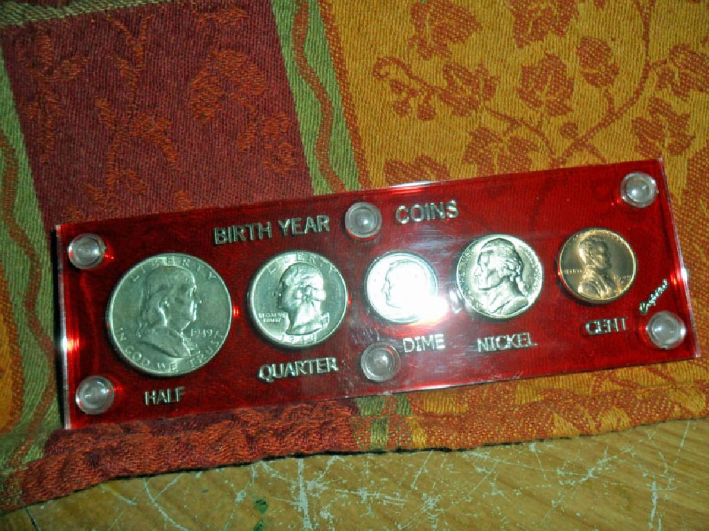 1949 D Silver and Copper Birthday Year Coins Set in Plastic Holder