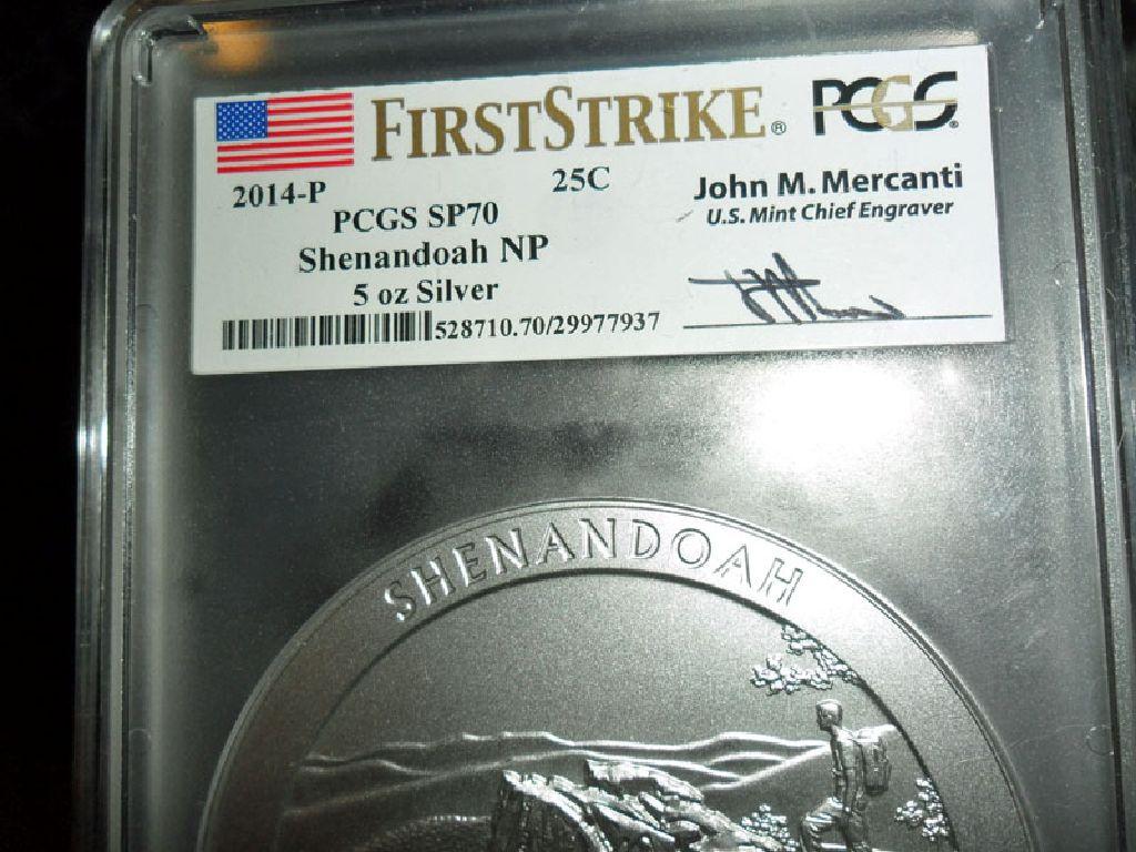 Exceptional and Beautiful 2014-P First Strike PCGS SP 70 SHENANDOAH  NATIONAL PARK 5 oz. SILVER QUAR
