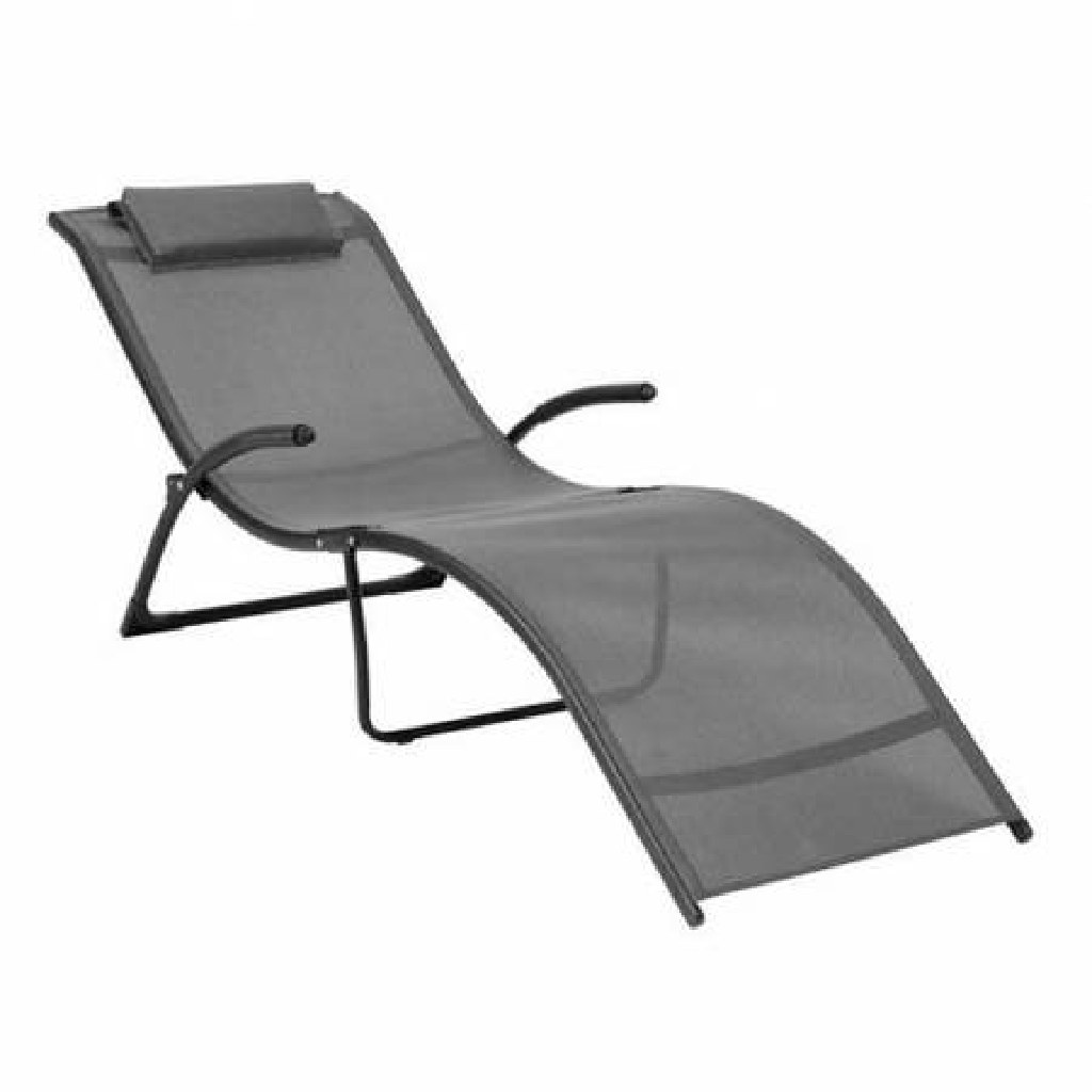 Folding Reclined Lounger, Black/Silver Grey