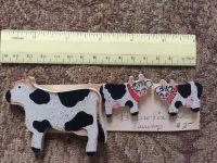 Cow pin and earrings