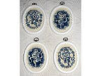 4 Cherubs & Musical Instruments Navy & Blue on Ivory Cross