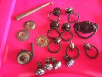 Antique sewing drawer knobs, sewing machine pieces, etc