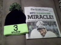 """Seahawks 2015 NFC Championship """"MIRACLE"""" Seattle Times Newspaper & #3 Wilson Hat"""