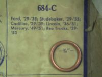 """Buy 1939 to 1953 REO Trucks 3/4"""" Oil Plug Crushable Copper Bound Asbestos Gasket NOS motorcycle in Hamlet, Indiana, United States, for US $8.88"""