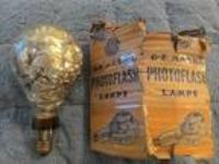 "GE Mazda 4"" foil filled antique photoflash lamp"