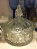 Antique/Vintage candy dish with top, also hood for jewelry or small item storage (6 inch circumference) $10