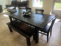 Large farm house handmade expression dining kitchen table seats 6-7 bench chairs