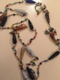 Long vintage glass bead necklace (some are broke- neat necklace!)
