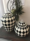 Beautiful set of two black and white checkered jars. Brand new don t go with my theme$75