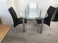 4pc Contemporary Round Glass & Leather Dining Set-Black & White