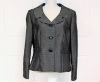 Le Suit Blazer Suit 16 Black Pinstripe Gold Women's Knit Fitted Cropped