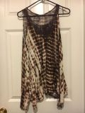 Cute long tye dye brown and white tank with lace front. Size Xl. Oversized