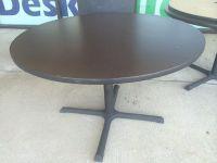 $199, Pre-Owned 4 Round Tables with Dark Espresso  Earthtone Honey Pattern High Pressure Laminate Tables
