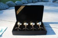4 GOLD PLATED GOBLETS, BOXED.