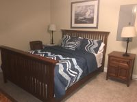Queen size bed, mattress/box springs and dresser