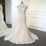 Jordyn's Mermaid High Neck Applique Wedding Gown