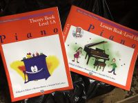 Kids piano lesson and theory books.