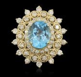 7.72 TCW Cocktail Topaz and Diamond 14K Gold 10.50 Gram Ring New, Tag, Appraised