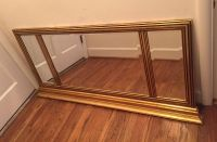 "Huge Beautiful Vintage Mid Century Wood Gold & Black 3 Panel Beveled Mirror 54.5"" x 27"" CP."