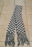 Very long scarf with fringe ends