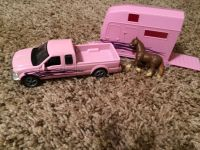 Pink pickup and trailer and horse