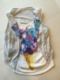 Super Cute!-JUSTICE Girl Size 10 sequins and sparkle shirt-2 piece top-(b91)