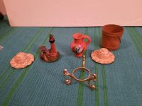 Miniature set 2 hats 1 metal stand 1 lighthouse 1 vase 1 wooden bucket all 2 inches in size