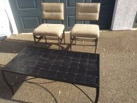 2 Wrought Iron Padded back Seat and black metal lattice Coffee Table