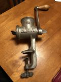 Antique Climax Meat Nut Grinder Cast Iron Vice Made in USA with Attachment