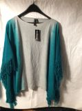 NWT poncho style with fringe sweater