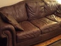 Leather sofa , chair and ottoman