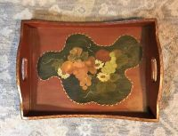 Vintage Wood Tole Paint Serving Tray