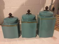 Set of 3 Turquoise Cannisters