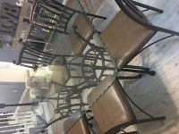 Thick beveled glass w antique bronze table & 6 chairs!
