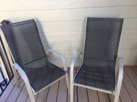 Two patio chairs black and gray