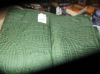 green twin quilt with sham