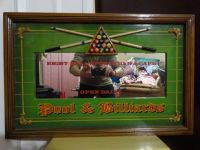 3D EIGHT BALL SPORTS BAR & CAFE POOL & BILLIARDS WOOD FRAMED MIRROR