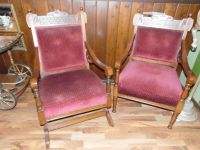 Matching pair antique Victorian parlor chair and rocking chair