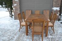 Table and chairs. cane chairs. leaves for table. DREXEL