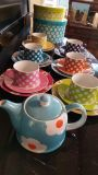 Yedi Housewares's Daisy Collection Assorted Colors Dessert Plates, Tea Cups and Saucers and Teapot