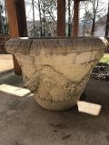 Heavy ornate concrete planter-cracked but useable. FREE TO WHOEVER CAN MOVE IT.