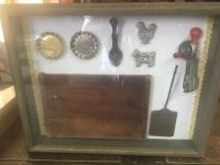vtg 50s toy kitchen items in shadow box cutting board cookie cutters egg beater