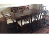 Kindel Mahogany Dining Set, Table, 8 Chippendale chairs +