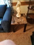 faux marble end tabled,coffee table and dining table and 4 chairs.